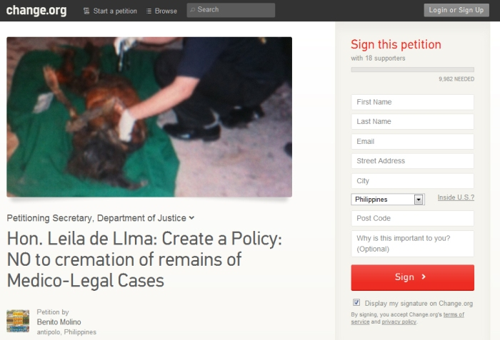 Screenshot of the petition in change.org