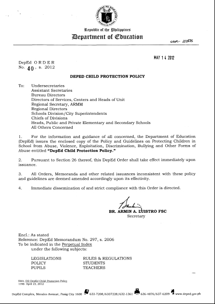 Screen grabbed from the original document. Pls click links below for the PDF file of the DEPED order.