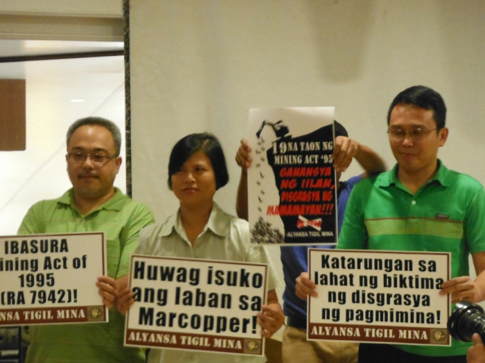 From left to right, Jaybee Garganera, National Coordinator, Alyansa Tigil Mina (ATM), Beth Manggol, Marinduque Council for Environmental Concerns (MaCEC) and Gerry Arances, Coordinator, Philippine Movement for Climate Justice (PMCJ) during a press conference held this afternoon in Quezon City. Photo by ATM