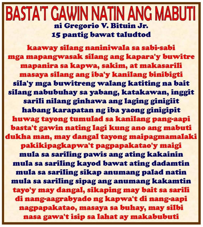 Bastat Gawin Natin ang Mabuti Ni Greg Bituin