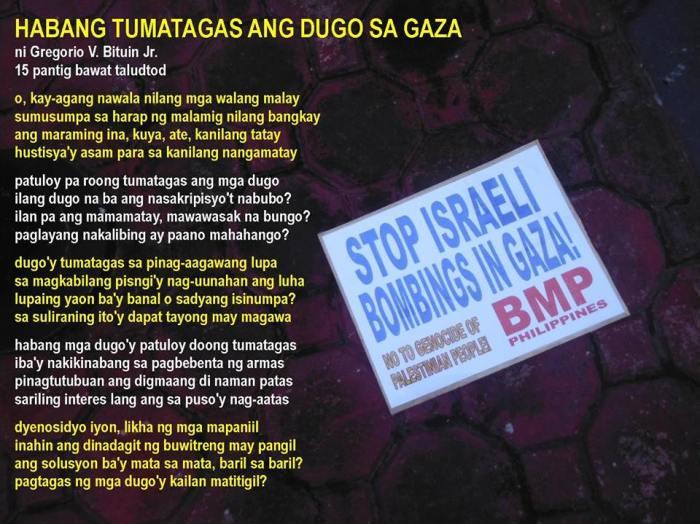 Habang tumatagas ang dugo sa GAZA by Greg Bituin