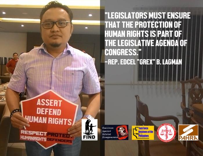 """Legislators must ensure that the protection of #humanrights is part of the legislative agenda of Congress."" Rep. Edcel ""Grex"" B. Lagman"