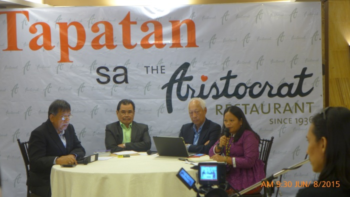 Jenevieve Cornelio, Teduray woman, speaking at Tapatan sa Aristocrat with MILF Chair Iqbal and Atty. Christian Monsod / photo by LRC
