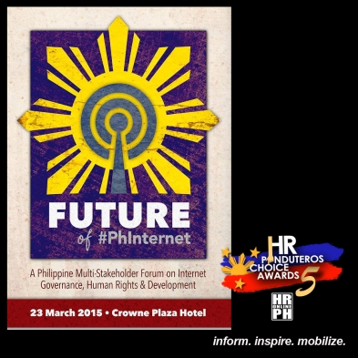5th Human Rights Pinduteros' Choice for HR Events-Future of #PhInternet: A Philippine Multistakeholder Forum on Internet Governance, Human Rights, and Development by FMA