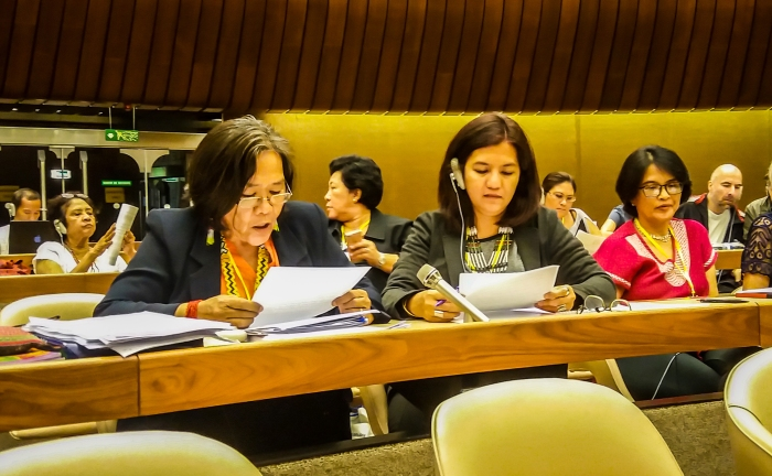 Kakay Tolentino (left) delivering the groups' oral statement with Judy Pasimio (middle) during the CEDAW committee dialogue with the CSOs / Geneva.  Photo by: WLB