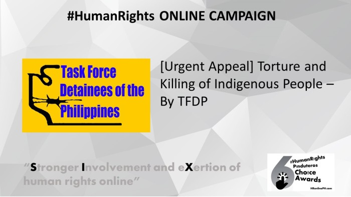 Urgent Appeal by TFDP is the 6th HR Pinduteros Choice for HR Online campaign