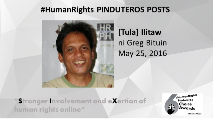 Ilitaw by Greg Bituin is the 6th HR Pinduteros Choice for HR Pinduteros Post